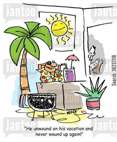 relaxation cartoon humor: 'He unwound on his vacation and never wound up again!'
