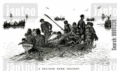 family holiday cartoon humor: Packed boats of families on a seaside holidays
