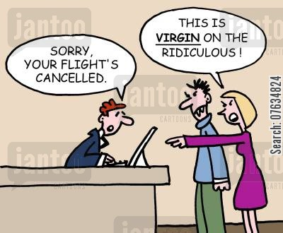 cancelled flights cartoon humor: Sorry, your flight's cancelled.