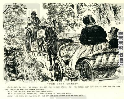 horse drawn carriages cartoon humor: Two Carriages Stuck In A Traffic Jam.