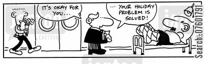 holidayed cartoon humor: 'It's okay for you...your holiday problem is solved!'