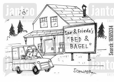 guest house cartoon humor: 'Bed & Bagel'
