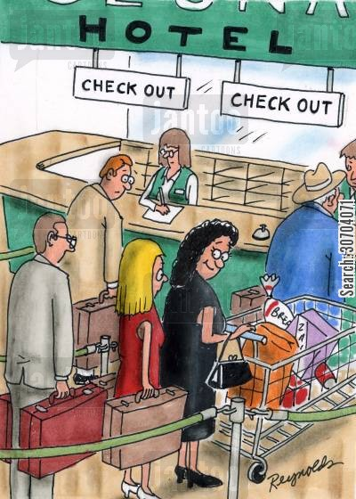hotel checkout cartoon humor: Hotel checkout.