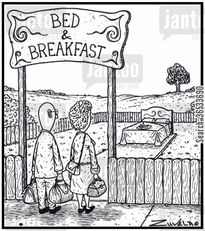small businesses cartoon humor: Bed & Breakfast - A B&B with only the Bed and Breakfast for stayers.