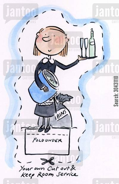 chambermaid cartoon humor: Cut out and keep your own Room Service.