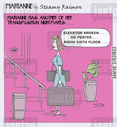bad-dreams cartoon humor: 'Elevator broken,,,no porter,,,room sixth floor,,,'