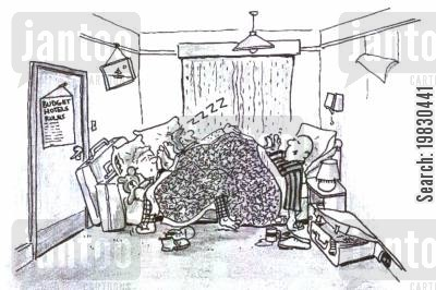 guest house cartoon humor: Budget hotels.
