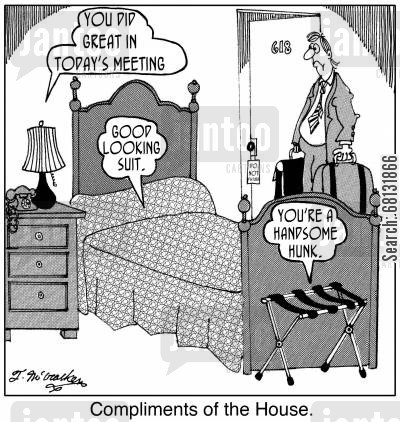 business travelers cartoon humor: Compliments of the House.