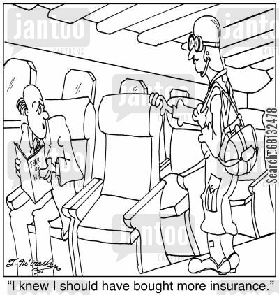 skydiver cartoon humor: 'I knew I should have bought more insurance.'