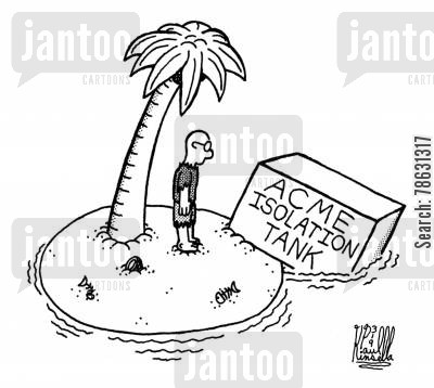 deserted island cartoon humor: ACME Isolation Tank