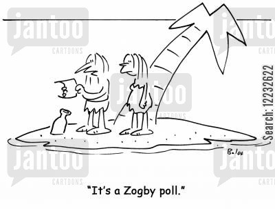 customer survey cartoon humor: 'It's a Zogby poll.'