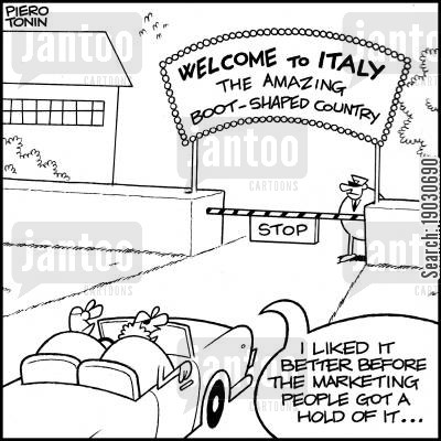 italy cartoon humor: 'I liked it better before the marketing people got a hold of it...'
