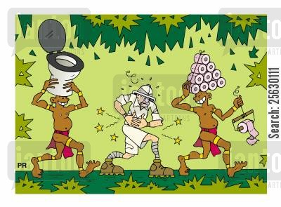 carriers cartoon humor: Explorer in jungle suffering from colic pain and laughing natives carrying toilet seat and toilet paper rolls.