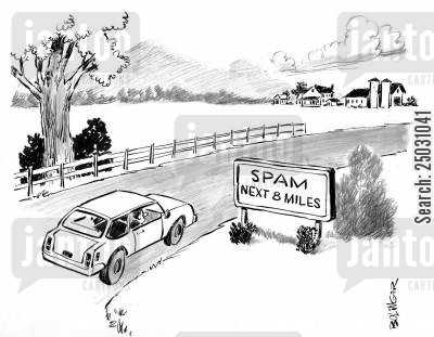 emailing cartoon humor: 'Spam - Next 8 miles.