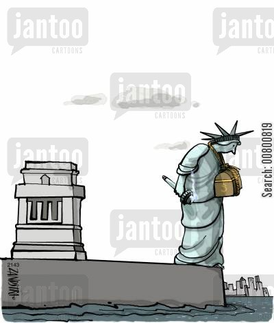 chests cartoon humor: Statue of Liberty with chest of money tied around neck.