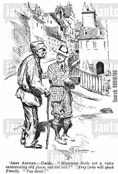 victorian linguists cartoon humor: 'Arry Abroad.