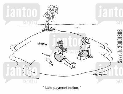 shipwreck cartoon humor: Late Payment Notice.