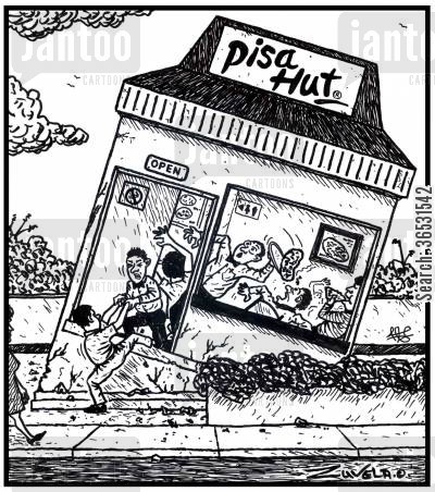 sinks cartoon humor: Pisa Hut.
