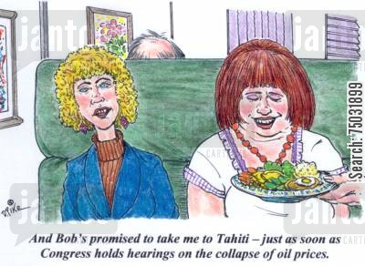 congressman cartoon humor: 'And Bob's promised to take me to Tahiti -- just as soon as Congress holds hearings on the collapse of oil prices.'