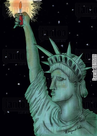 lighters cartoon humor: Statue of liberty holding a lighter