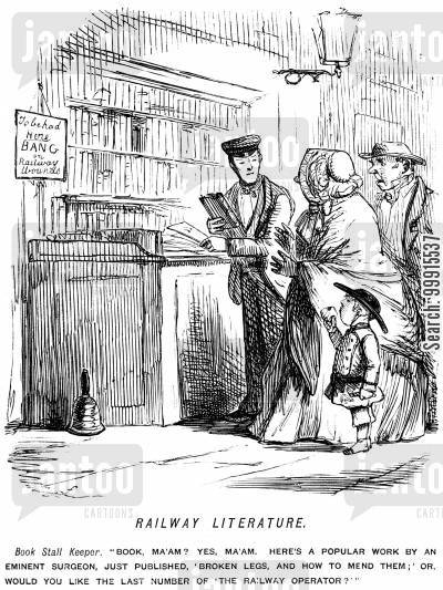 readers cartoon humor: Book stall at a railway station