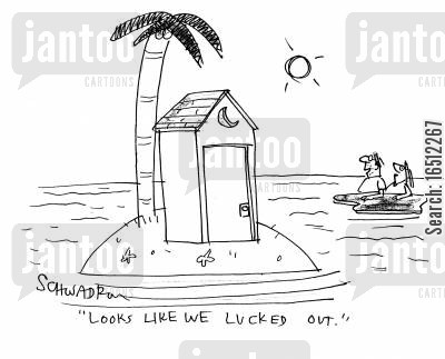 cabins cartoon humor: 'Looks like we lucked out.'