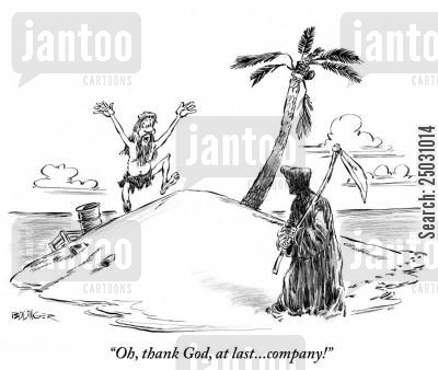 tropical island cartoon humor: 'Oh, thank God, at last... company!'