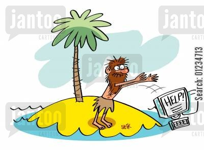 sos cartoon humor: Castaway uses a PC instead of a bottle.