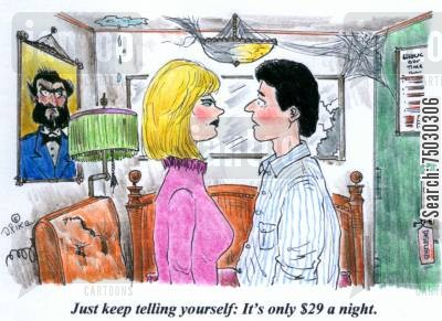 accommodations cartoon humor: 'Just keep telling yourself, it's only $29 a night.'
