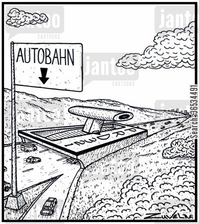 motors cartoon humor:  An Autobahn with an automatic transmission control