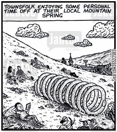 springs cartoon humor: Townsfolk enjoying some personal time off at their local mountain spring.