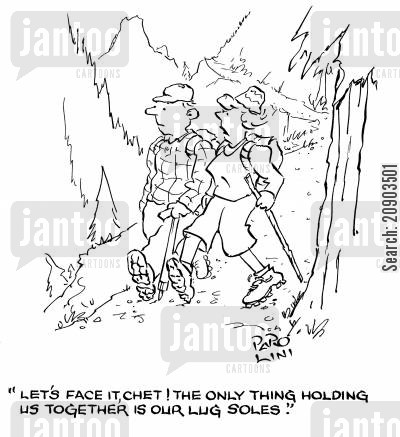 trek cartoon humor: 'Let's face it, chet! The only thing holding us together is our lug soles.'