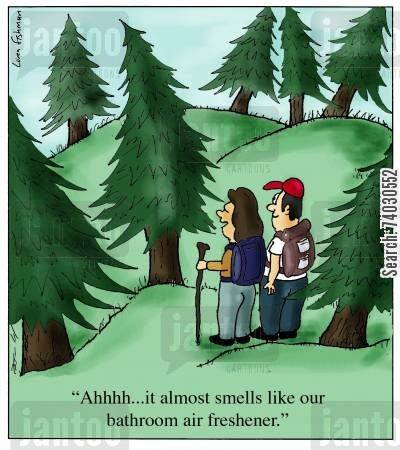 pines cartoon humor: 'Ahhhh...it almost smells like our bathroom air freshener.'
