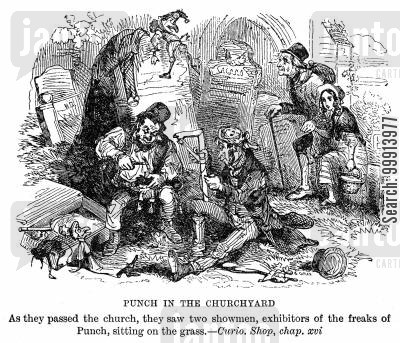 showmen cartoon humor: Punch in the churchyard