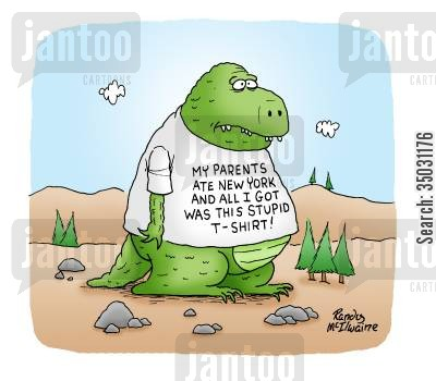 godzilla cartoon humor: My parents ate New York and all I got was this stupid t-shirt!