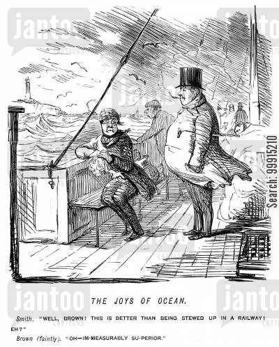 seasickness cartoon humor: Seasick man and friend comparing boat travel to railway travel