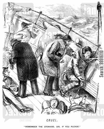 seasickness cartoon humor: Seasick passengers being asked to tip the steward