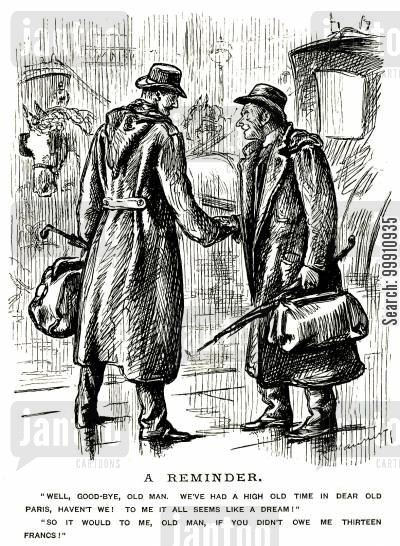 indebted cartoon humor: Friends parting after a trip to Paris