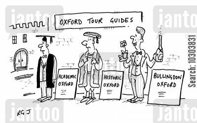 south east england cartoon humor: Oxford tour guides