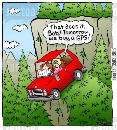 navigators cartoon humor: 'That does it, Bob! Tomorrow we buy a GPS!'