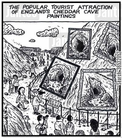 cheddar cartoon humor: The popular tourist attraction of England's Cheddar cave paintings.