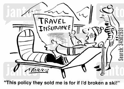 disappointments cartoon humor: This policy they sold me is for if I'd broken a ski!