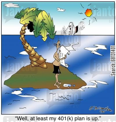 retirement fund cartoon humor: Well, at least my 401(k) plan is up.