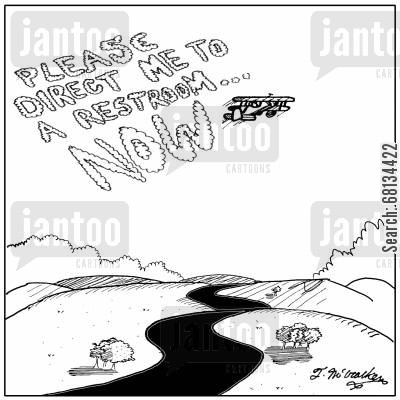 skywriter cartoon humor: 'Please direct me to a restroom NOW.'