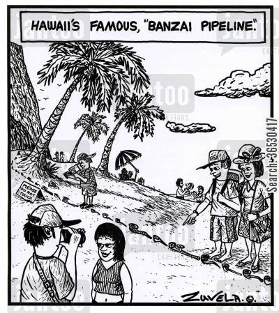 pipeline cartoon humor: Hawaii's famous,'Banzai Pipeline'.