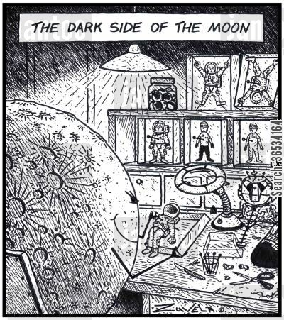 shuttle cartoon humor: The dark side of the Moon