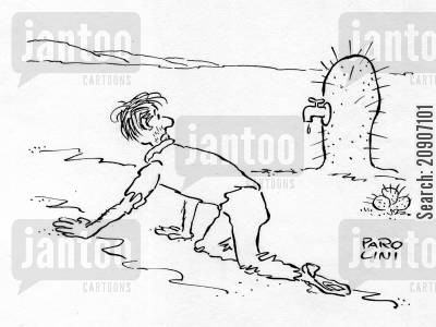 thirsts cartoon humor: Cactus with tap.