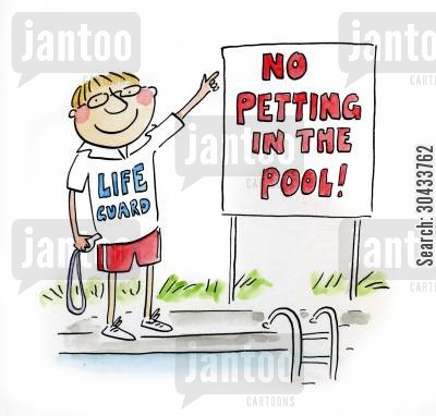 pool staff cartoon humor: No petting in the pool!