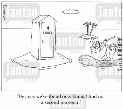 portaloo cartoon humor: 'By jove, we've found one, Emma! And not a second too soon!'