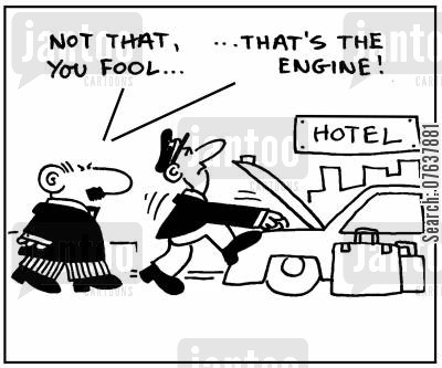 hotel porter cartoon humor: 'Not that you fool, that's the engine.'